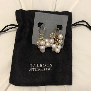 Gold pearl and crystal dangle earrings